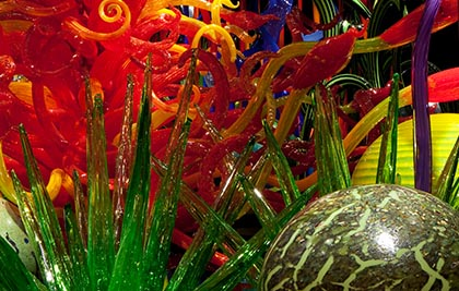 Dale Chihuly<br />Mille Fiori (détail)<br />2012<br /><span style='font-weight:bold;color:red;'>3 x 17,7 x 3,7 m</span><br />Seattle, Chihuly Garden and Glass<br />Photo Scott M. Leen<br>